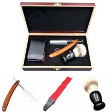 Shave Kit Men Straight Razor+Shaving Brush+Leather Strop Gift With Wooden Box