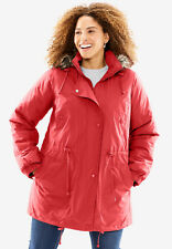 1fad9771748 NWOT Woman Within Taslon Anorak Coat pepper red Size 1X 22 24 faux fur  jacket