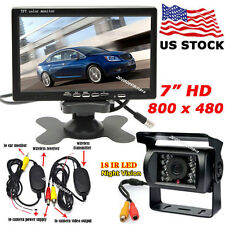 "Wireless 7"" HD TFT Color Monitor +IR Night Vision Backup Camera for Bus Truck"