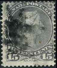 Canada #29 used VG-F 1868 Queen Victoria 15c grey violet Large Queen CV$22.50