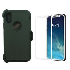 New For Apple iPhone X 10 Defender Case w/(Clip fits Otterbox)&Screen BLACK