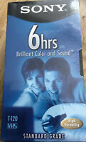 3 Sony Premium VHS Tapes Blank Recordable 6hrs T-120 NEW SEALED  MEDIA MAIL