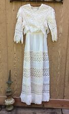 ANTIQUE VICTORIAN EDWARDIAN Cotton Batiste CROCHET LACE LAWN Dress WEDDING GOWN