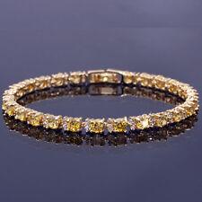 Fashion Jewelry Round Cut Yellow Citrine Tennis Statement Fashion Bracelet