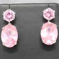 Gorgeous Pink Sapphire Earrings Drop Dangle Women Engagement Jewelry 14K Plated