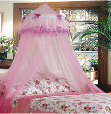 PINK TRIPLE PRINCESS BED CANOPY MOSQUITO NET PINK NEW SHIP FROM THE USA