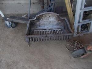 Antique Fleur de Lis Cast Iron Fireplace Wood / Coal Grate LARGE