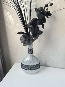 Glitter Flower arrangement vase ~ artificial black flowers,silver vase Handmade