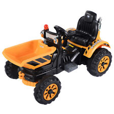 12V Battery Powered Kids Ride On Tipper Dumper Truck With Dump Bucket Yellow