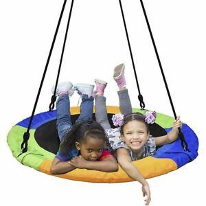 QOZY Flying Saucer Swing Set, Toddler Tree Swing, Hanging Rope Round Disc Swing,