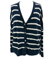 Vince Women's Navy Ivory Long Sleeve Button-Front Cardigan Sweater Size XS