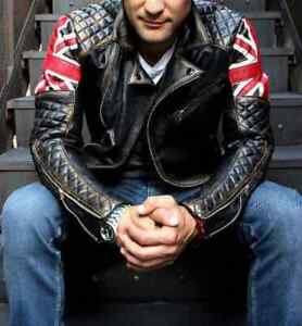 Mens Biker Vintage Motorcycle British Flag Cafe Racer Union UK Leather Jacket