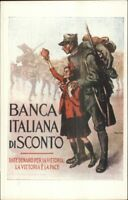 Italy WWI Propaganda Bank Soldier & Little Girl Poster Art c1915 Postcard