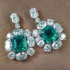 Asscher Green Dangle Earrings Butterfly Fastening Solid 925 Sterling Silver 15ct
