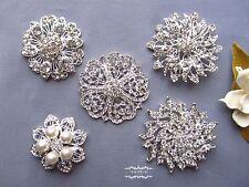 5 PCs Large Rhinestone Brooch Lot Pin Crystal Pearl Wedding Bouquet Bridal DIY