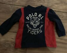 Ralph Lauren Boys Long Sleeve Shirt Size 6 Months Tigers Blue