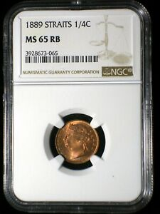 Straits Settlements 1889 1/4 Cent *NGC MS-65 RB* Malaysia Only 1 Graded Higher