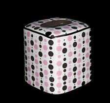 Chic Chocolate Brown Bubble Gum Pink Polka Dots Ceramic Tissue Box Cover Unused