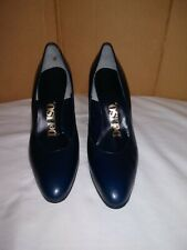 Deliso Vintage Navy Blue Leather Hi Heel Pumps Women Shoes Sz 9.5 Aaa. Pre-Owned