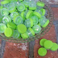 50  1tsp 1/4oz .25oz  JARS Lime Green posh CAPS Container Geocache DecoJars USA
