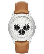 257ed1f6b990 Michael Kors MK8470 Gareth White Dial Tan Leather Men s Chronograph Watch