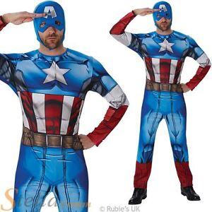 Mens Classic Captain America Book Week Superhero Fancy Dress Costume Outfit