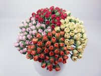 200 Tiny Roses Mulberry Paper, 6mm, 4 colors, Scrapbook, Wedding Decor