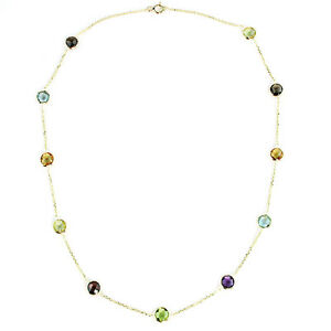 14K Yellow Gold Station Necklace With Gemstones By The Yard 24 Inches