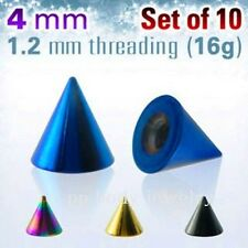 5pcs. Pack. of 16g~4mm Titanium Anodized Surgical Steel Cone Spike threading