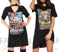 Womans Rock Outlaw Freedom Long T Shirt Mini Party Dress Vintage Rock Choker Top