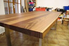 Nußbaum Esstisch Baumkante  Edelstahl,  Platte 40mm voll massiv 240 x 105 cm