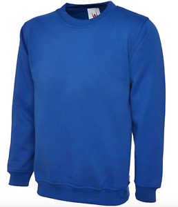 Unisex Plain Sweatshirt Jumper Pullover Casual Top Royal Blue Pack of 3