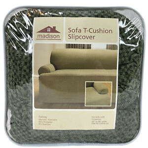"""Madison Sofa Couch T-Cushion Slipcover 74"""" to 96"""" Wide Green Check Galway NEW!"""