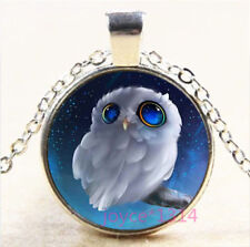 OWL Cabochon Silver/Bronze/Black/Gold Glass Chain Pendant Necklace #6581