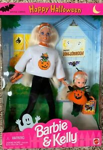 1996 Happy Halloween Barbie & Kelly NRFB set pumpkin costume