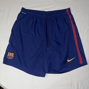 FC Barcelona Barca Blue Home Football Soccer Training Shorts Nike Mens Size 2XL
