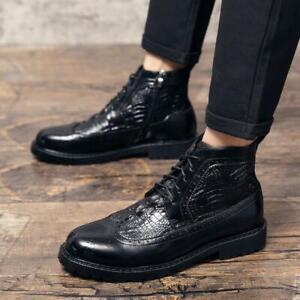 Brogue Mens Faux Leather Business Leisure Ankle Boots Crocodile pattern Shoes SZ