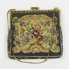 Vintage c.1930 Flapper Style Purse Elegant Dinner Paris France Floral Fabric