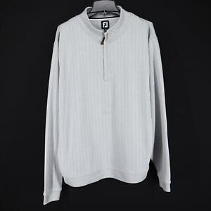 Men FootJoy FJ Prodry Gray Golf Pullover Sweat Shirt Jacket Size 2XL XXL 1/4 Zip