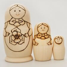 Wooden Diy Nesting Doll Plain Matryoshka Doll 3 pc Paint Yourself Made in Russia
