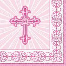 Unique 16 Pack Pink Radiant Cross Lunch Napkins Party Communion