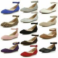 DailyShoes Women's Ankle Strap Low Wedge Flat Ballet Leisure Slip on Work Shoes