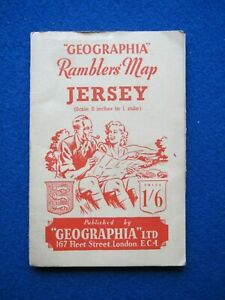 Geographia Ramblers Map of Jersey   1950's