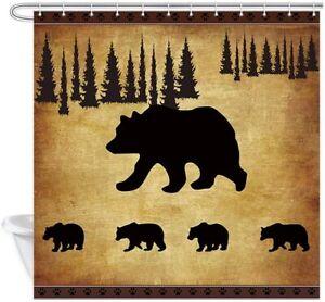 Black Bear Shower Curtain Mother Bear and Four Cute Baby Bears Shower Curtains