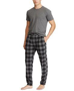 $75 Polo Ralph Lauren Men's Short Sleeve Jersey Buffalo Plaid Pajama Set (Grey)