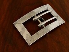 - WILLIAM KERR ART DECO STERLING SILVER BELT BUCKLE ENGINE TURNED DECORATION