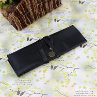 1x Retro Vintage PU Leather Roll Makeup Pencil Pen Brush Case Pouch Cosmetic Bag