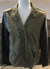 Forever 21 Women's Size Large Utility Jacket Army Green Spike Studded Pleather
