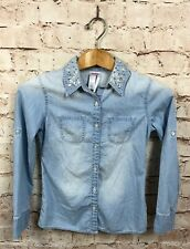 Justice Button Down Shirt Size 10 Denim Chambray Jeweled Blouse Girls