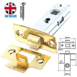 "FIRE RATED 2.5""/64mm Brass Tubular Mortice Latch Internal Door Handle Lock Catch"